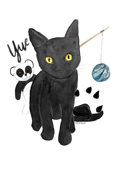 Una mascota con el nombre y elementos decorativos