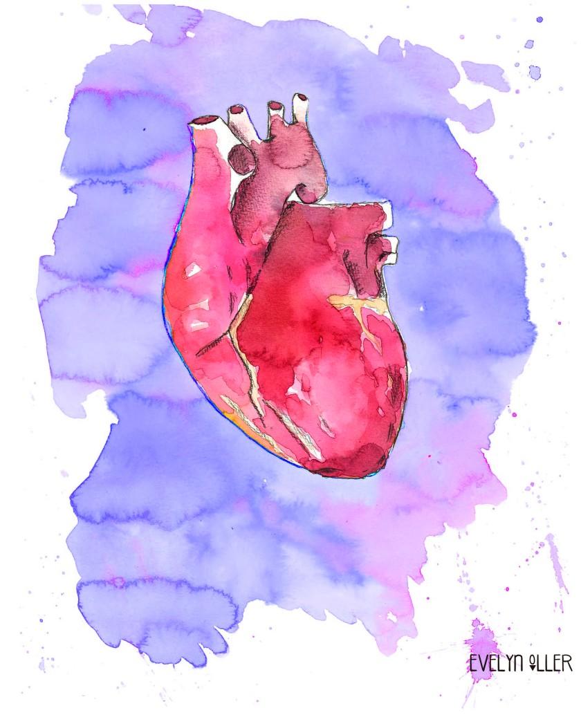 corazón lila y rosa