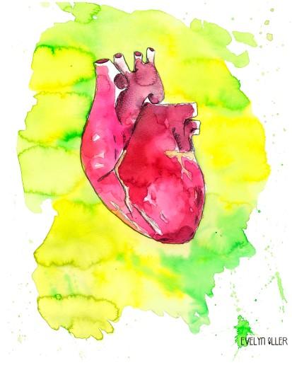 corazón verde y amarillo